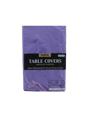 Plastic Table Cover in Purple Color, Party Table Cloths Disposable, Rectangle Tablecloth - Size: 56 x 108 Inches