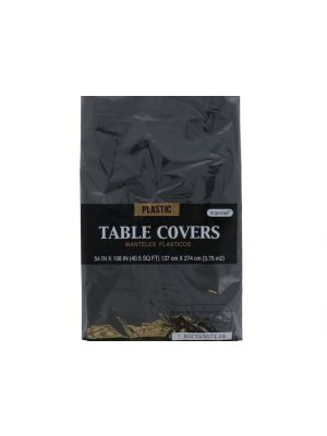 Black Plastic Table Cover 54 In X 108 In