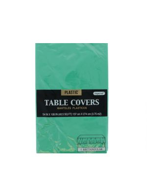 Plastic Table Cover in Green Color, Party Table Cloths Disposable, Rectangle Tablecloth - Size: 56 x 108 Inches