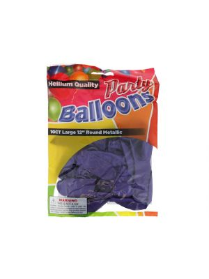 Metallic Purple 12 In Large Latex Party Balloons 5 Count
