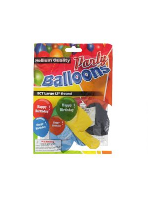 Happy Birthday 12 In Large Latex Party Balloons 5 Count