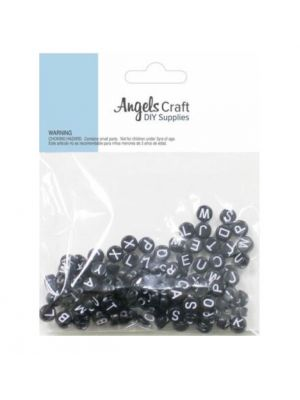 BLACK ALPHABET BEADS 120 PC