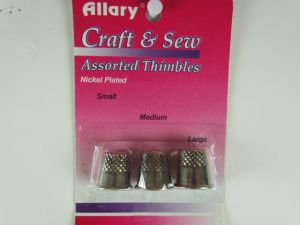 Allary Craft & Sew ASSORTED THIMBLES Pack Small, Medium & Large Sizes (1 of Each Size) (NICKEL PLATED Metal Thimbles)