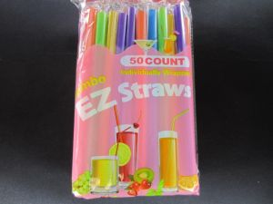 EZ Jumbo Plastic Boba Individually Wrapped Straws 50 Count