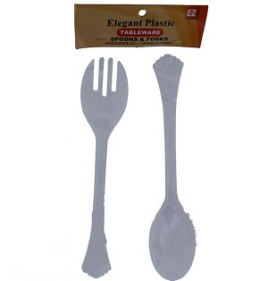ELEGANT PLASTIC TABLEWARE SPOON AND FORK