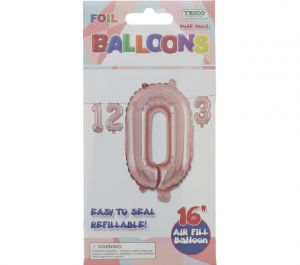 ROSE GOLD #0 FOIL BALLOON 16IN