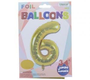 GOLD #6 FOIL BALLOON 34 INCH