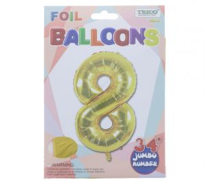 GOLD #8 FOIL BALLOON 34 INCH