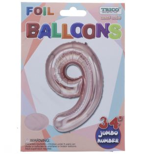 ROSE GOLD  #9 FOIL BALLOON 34 INCH