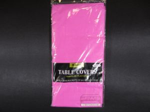 Plastic Table Cover in Hot Pink Color Party Table Cloths Disposable Rectangle Tablecloth - Size 56 x 108 Inches