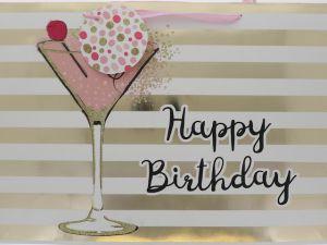 BIRTHDAY MARTINI GLASS GIFT BAG LARGE