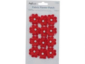 FABRIC FLOWER PATCH RED WITH PEARL