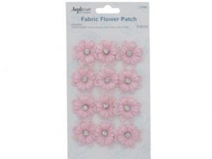 FABRIC FLOWER PATCH PINK WITH PEARL