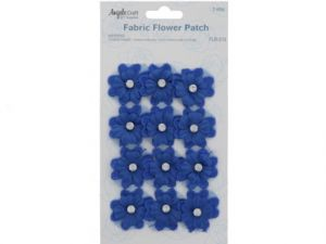 FABRIC FLOWER PATCH BLUE WITH STONE
