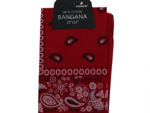Red Bandana 100 Cotton Versatile Large Paisley Bandanas in Pack of 1