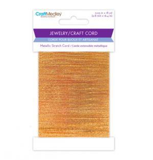 GOLD METALLIC STRETCH CORD 0.8 MM X 18 YARDS