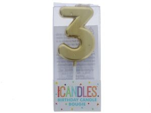 Small Gold Molded Birthday Candle # 3