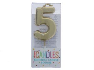 Small Gold Molded Birthday Candle # 5