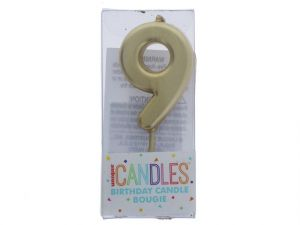 Small Gold Molded Birthday Candle # 9