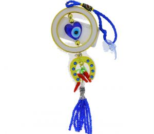 EVIL EYE IN GOLD CIRCLE AND HORSE CHARM