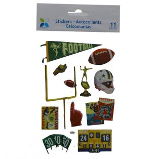 VINTAGE FOOTBALL 3D STICKERS 11 PC