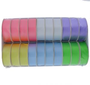 PASTEL POLY-SATIN RIBBONS ASSORTED COLORS 1 INCH X 3 YARDS