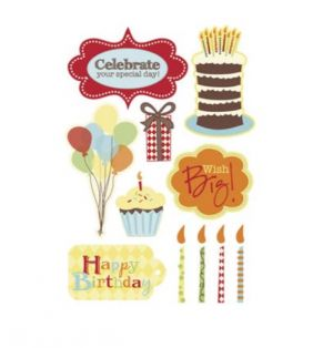 BIRTHDAY FOAM STICKERS 11 PC