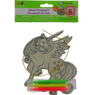 WOODEN UNICORN ORNAMENT WITH MARKERS