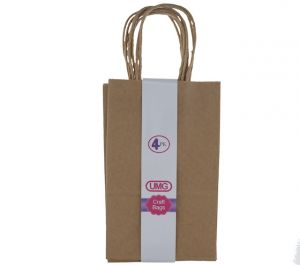 NATURAL SMALL CRAFT BAG 4 COUNT 13X8X21CM