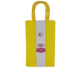YELLOW SMALL CRAFT BAG 4 COUNT 13X8X21CM