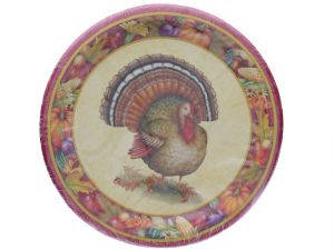 FESTIVE TURKEY 9 INCH PLATES 8 COUNT