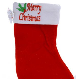 STOCKING WITH MERRY CHRISTMAS EMBELLISHMENT