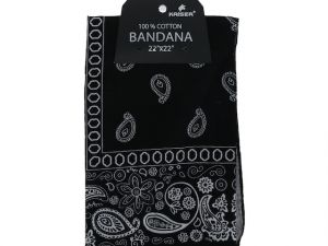 Black Bandana 100 Cotton Versatile Large Paisley Bandanas in Pack of 1