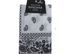 White Bandana 100 Cotton Versatile Large Paisley Bandanas in Pack of 1