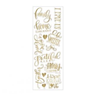 GOLD STICKERS WITH FAMILY PHRASES 12 PC