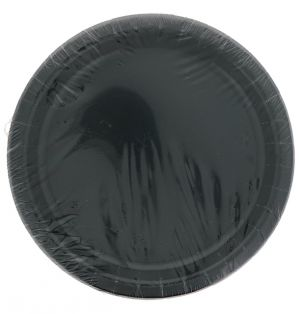 BLACK 9 Inch Dinner Plates 16 Count