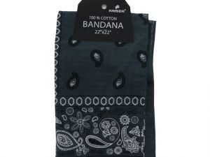 Grey Bandana 100 Cotton Versatile Large Paisley Bandanas in Pack of 1