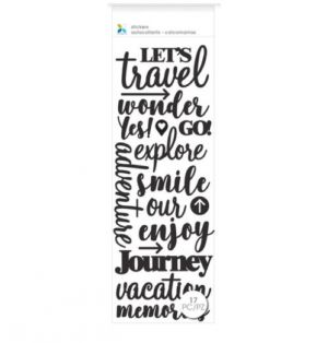 VACATION PHRASES BLACK STICKERS 17 PC