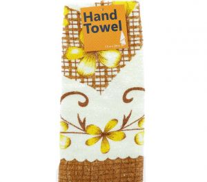 HAND TOWEL WITH HEARTS AND FLOWER 13 INCH X 28 INCH