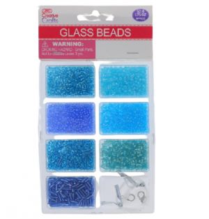 BLUE GLASS BEADS WITH CORD