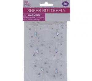SHEER BUTTERFLY EMBELISHMENT 6 PACK 3.8 CM