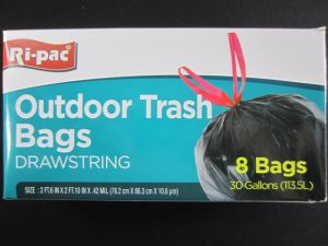 OUTDOOR TRASH BAGS 8 PC  30GL