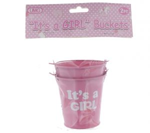 ITS A GIRL BUCKET 7CM X 7CM PINK 2 COUNT