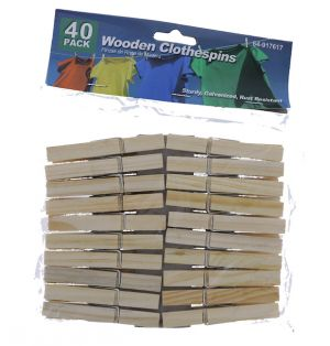 WOODEN CLOTHESPINS 40 COUNT