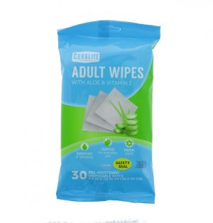 ADULT WIPES WITH ALOE VERA AND VITAMIN E 30 COUNT