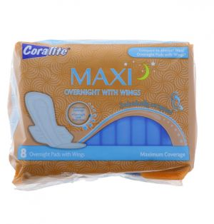 MAXI OVERNIGHT PADS WITH WINGS 8 COUNT