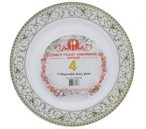 DISPOSABLE FANCY PLATE 7 INCH 4 PACK
