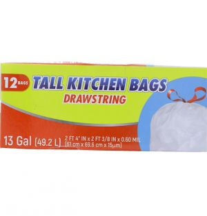 TALL KITCHEN BAGS DRAWSTRING 13 GL 12 BAGS