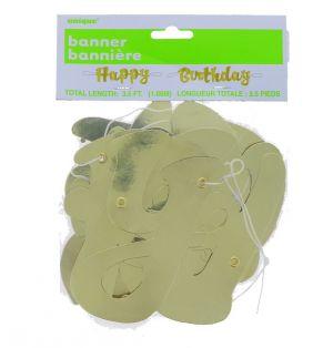 GOLD HAPPY BIRTHDAY BANNER 1.5 FT