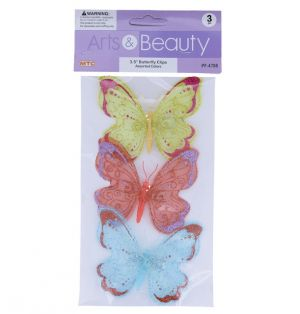 BUTTERFLY CLIPS 3.5 INCHES 3 COUNT